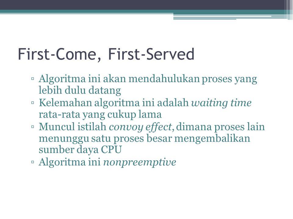 First-Come, First-Served ▫Algoritma ini akan mendahulukan proses yang lebih dulu datang ▫Kelemahan algoritma ini adalah waiting time rata-rata yang cu
