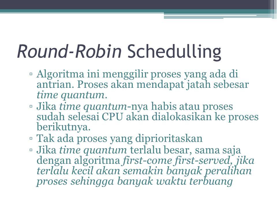 Round-Robin Schedulling ▫Algoritma ini menggilir proses yang ada di antrian. Proses akan mendapat jatah sebesar time quantum. ▫Jika time quantum-nya h