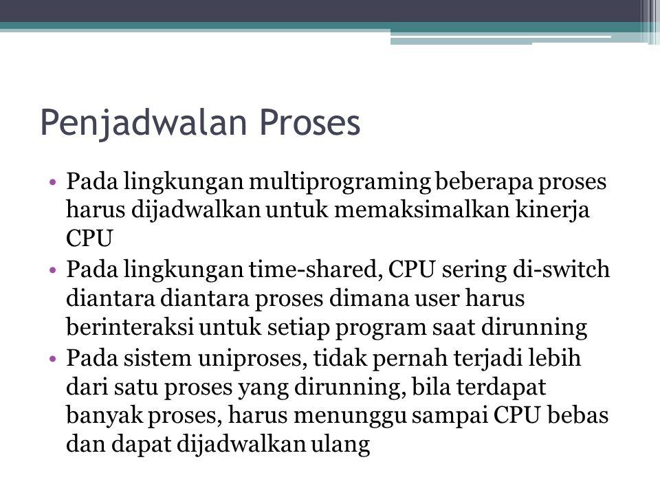 Penjadwalan Proses •Pada lingkungan multiprograming beberapa proses harus dijadwalkan untuk memaksimalkan kinerja CPU •Pada lingkungan time-shared, CP