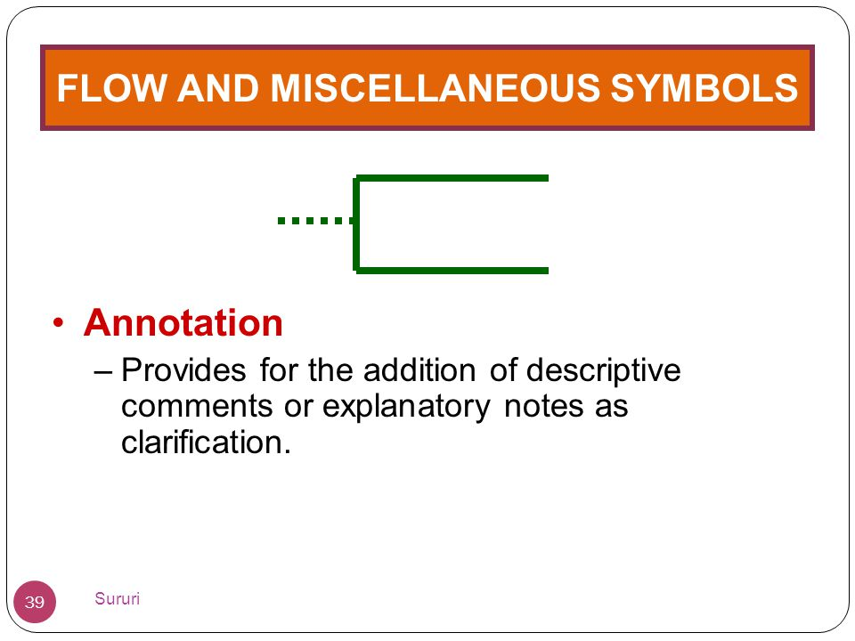 FLOW AND MISCELLANEOUS SYMBOLS •Annotation –Provides for the addition of descriptive comments or explanatory notes as clarification. 39 Sururi