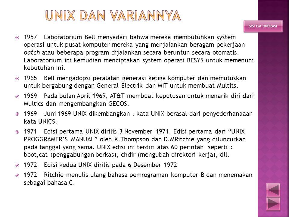  1996 UNIX lahir pada PDP-7  1971 UNIX versi 1, pada DEC PDP-11/20  1973 UNIX versi 4, dalam bahasa C, dibentuk kelompok PWB (programmer's workbenc