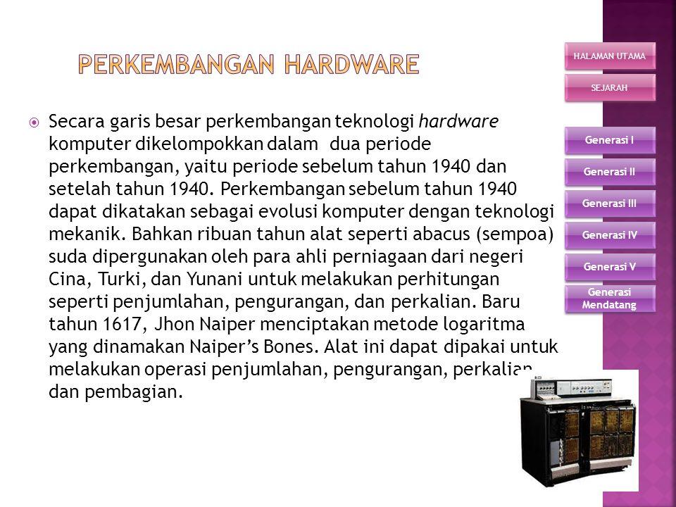Perkembangan hardware Perkembangan hardware Perkembangan Sistem Operasi Perkembangan Sistem Operasi HALAMAN UTAMA