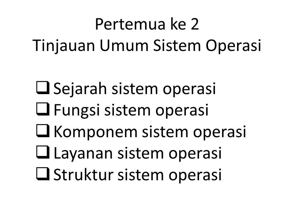 Pertemua ke 2 Tinjauan Umum Sistem Operasi  Sejarah sistem operasi  Fungsi sistem operasi  Komponem sistem operasi  Layanan sistem operasi  Struktur sistem operasi