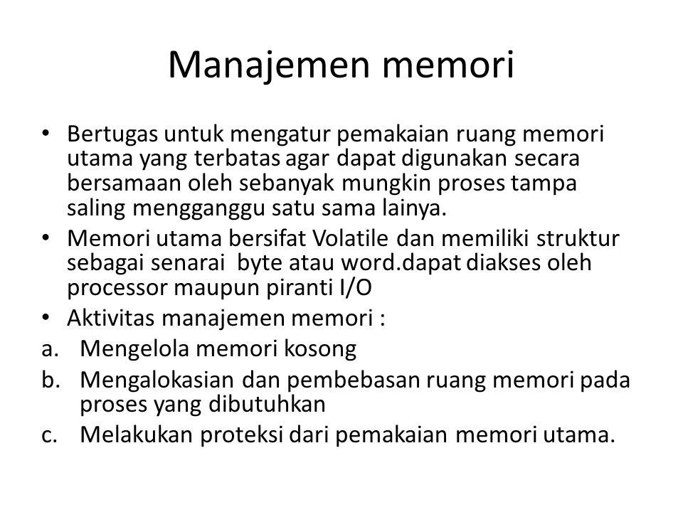 Manajemen memori • Bertugas untuk mengatur pemakaian ruang memori utama yang terbatas agar dapat digunakan secara bersamaan oleh sebanyak mungkin proses tampa saling mengganggu satu sama lainya.