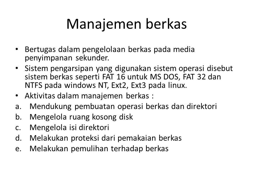Manajemen berkas • Bertugas dalam pengelolaan berkas pada media penyimpanan sekunder.