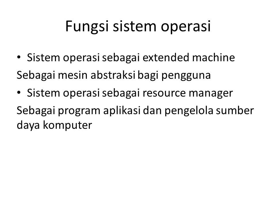 Fungsi sistem operasi • Sistem operasi sebagai extended machine Sebagai mesin abstraksi bagi pengguna • Sistem operasi sebagai resource manager Sebagai program aplikasi dan pengelola sumber daya komputer