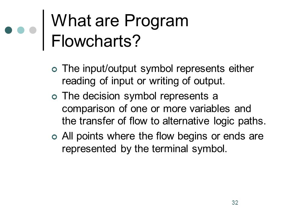 32 What are Program Flowcharts? The input/output symbol represents either reading of input or writing of output. The decision symbol represents a comp