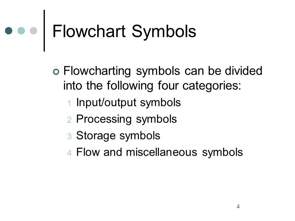 4 Flowchart Symbols Flowcharting symbols can be divided into the following four categories: 1 Input/output symbols 2 Processing symbols 3 Storage symb