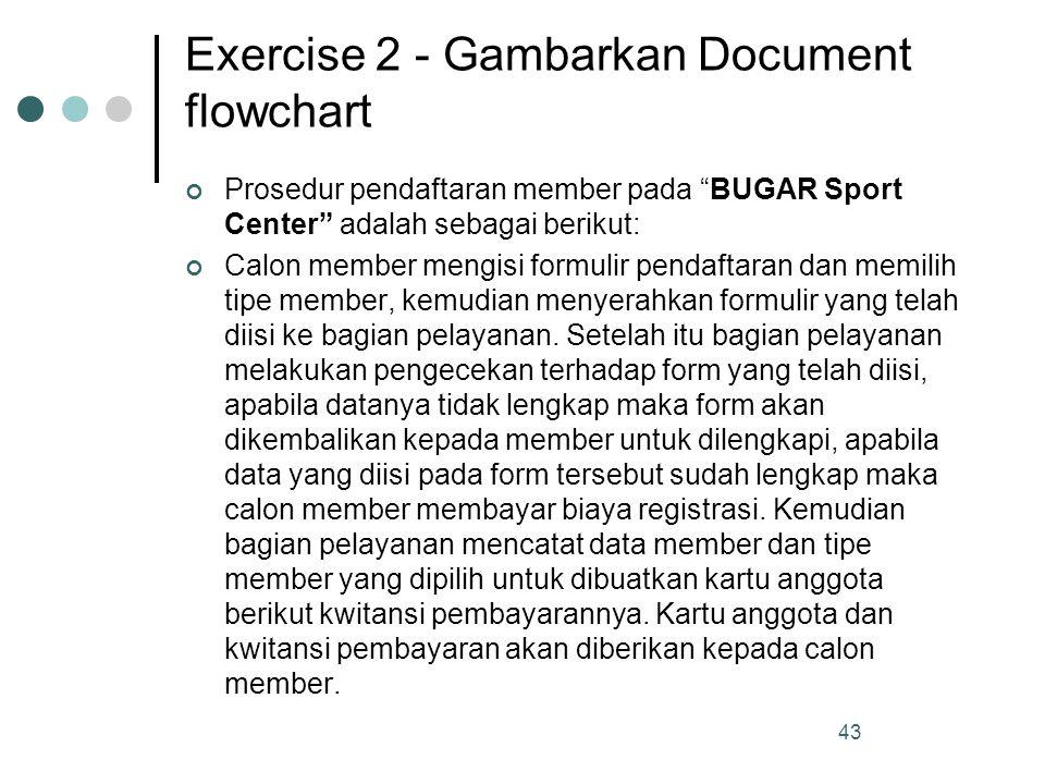 Exercise 2 - Gambarkan Document flowchart Prosedur pendaftaran member pada BUGAR Sport Center adalah sebagai berikut: Calon member mengisi formulir pendaftaran dan memilih tipe member, kemudian menyerahkan formulir yang telah diisi ke bagian pelayanan.