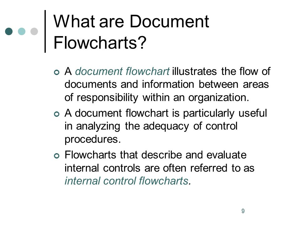 10 Document Flowcharts Flowcharts are pictorial representations of transaction processing systems that portray flows of some type A Document Flowchart emphasizes the hardcopy inputs and outputs and their flows through organizational units Auditors and accountants may use document flowcharts when analyzing a current system for weaknesses in controls and reports