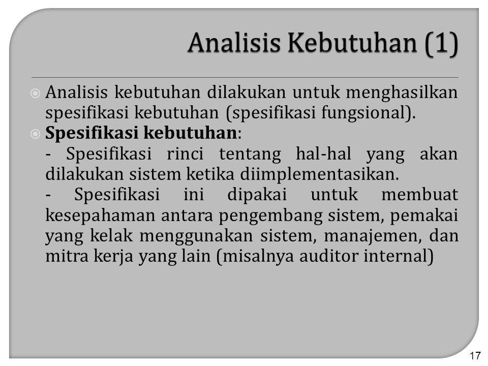  Analisis kebutuhan dilakukan untuk menghasilkan spesifikasi kebutuhan (spesifikasi fungsional).  Spesifikasi kebutuhan: - Spesifikasi rinci tentang