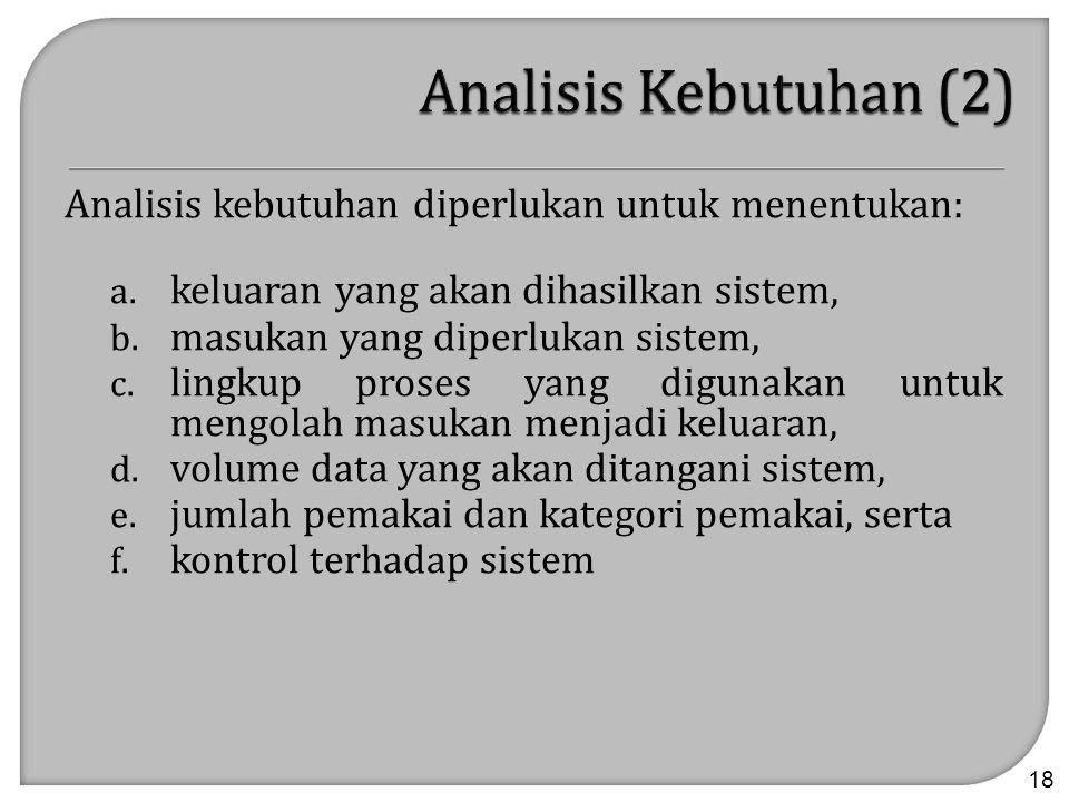 Analisis kebutuhan diperlukan untuk menentukan: a. keluaran yang akan dihasilkan sistem, b. masukan yang diperlukan sistem, c. lingkup proses yang dig