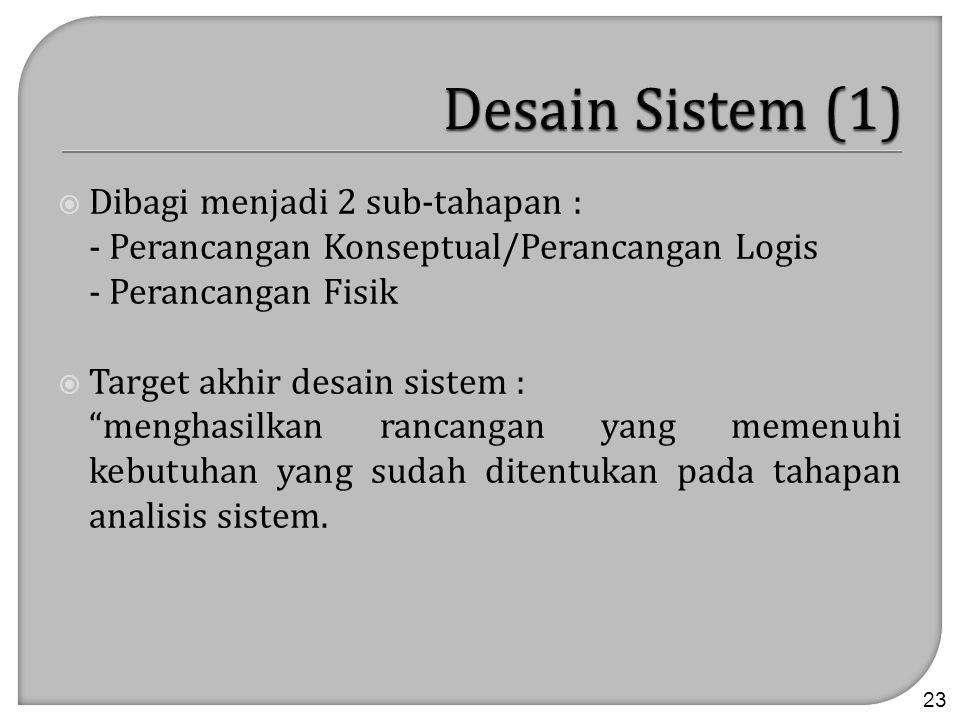 " Dibagi menjadi 2 sub-tahapan : - Perancangan Konseptual/Perancangan Logis - Perancangan Fisik  Target akhir desain sistem : ""menghasilkan rancangan"