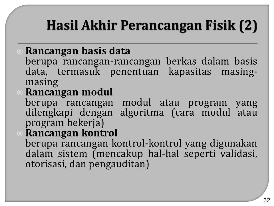  Rancangan basis data berupa rancangan-rancangan berkas dalam basis data, termasuk penentuan kapasitas masing- masing  Rancangan modul berupa rancan