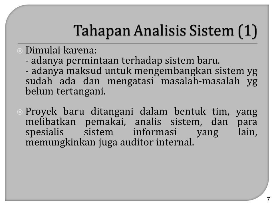  Tujuan utama analisis sistem : Untuk menentukan hal-hal detil tentang yang akan dikerjakan oleh sistem yang diusulkan (dan bukan bagaimana caranya).