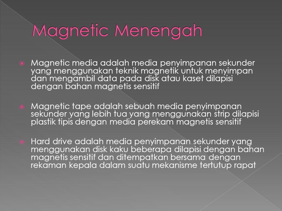  Magnetic media adalah media penyimpanan sekunder yang menggunakan teknik magnetik untuk menyimpan dan mengambil data pada disk atau kaset dilapisi dengan bahan magnetis sensitif  Magnetic tape adalah sebuah media penyimpanan sekunder yang lebih tua yang menggunakan strip dilapisi plastik tipis dengan media perekam magnetis sensitif  Hard drive adalah media penyimpanan sekunder yang menggunakan disk kaku beberapa dilapisi dengan bahan magnetis sensitif dan ditempatkan bersama dengan rekaman kepala dalam suatu mekanisme tertutup rapat