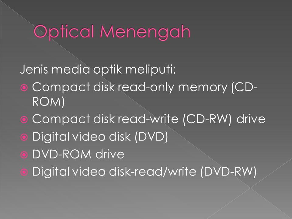 Jenis media optik meliputi:  Compact disk read-only memory (CD- ROM)  Compact disk read-write (CD-RW) drive  Digital video disk (DVD)  DVD-ROM drive  Digital video disk-read/write (DVD-RW)