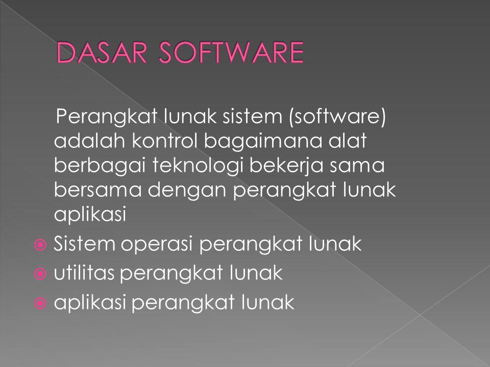 Perangkat lunak sistem (software) adalah kontrol bagaimana alat berbagai teknologi bekerja sama bersama dengan perangkat lunak aplikasi  Sistem opera
