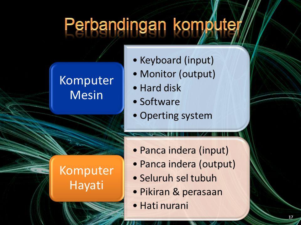 •Keyboard (input) •Monitor (output) •Hard disk •Software •Operting system Komputer Mesin •Panca indera (input) •Panca indera (output) •Seluruh sel tubuh •Pikiran & perasaan •Hati nurani Komputer Hayati 17