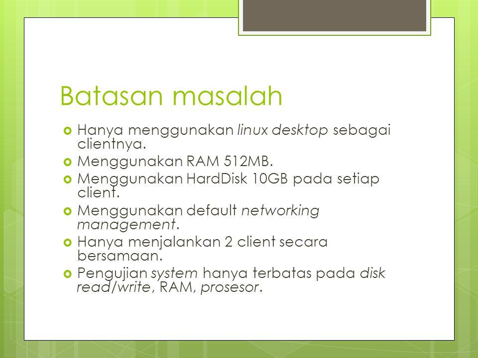Batasan masalah  Hanya menggunakan linux desktop sebagai clientnya.  Menggunakan RAM 512MB.  Menggunakan HardDisk 10GB pada setiap client.  Menggu