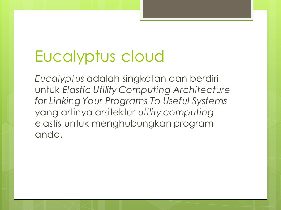 Openstack cloud OpenStack adalah teknologi cloud computing yang menyediakan sistem operasi cloud untuk public dan private cloud di bawah Apache License.