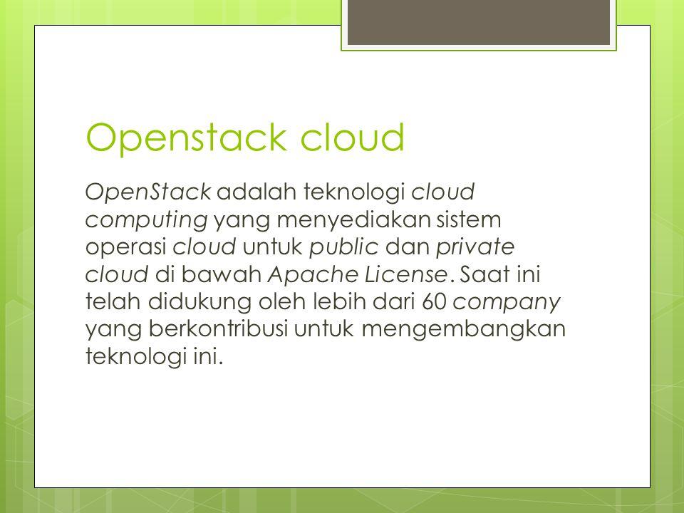 Openstack cloud OpenStack adalah teknologi cloud computing yang menyediakan sistem operasi cloud untuk public dan private cloud di bawah Apache Licens