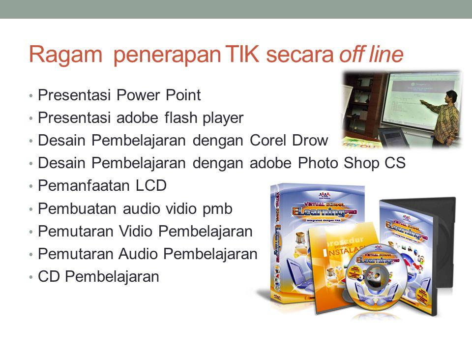 Ragam penerapan TIK secara off line • Presentasi Power Point • Presentasi adobe flash player • Desain Pembelajaran dengan Corel Drow • Desain Pembelaj