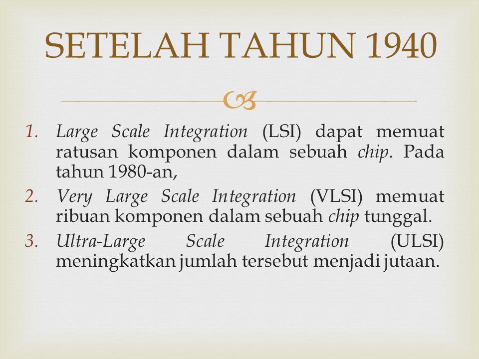  SETELAH TAHUN 1940 1. Large Scale Integration (LSI) dapat memuat ratusan komponen dalam sebuah chip. Pada tahun 1980-an, 2. Very Large Scale Integra