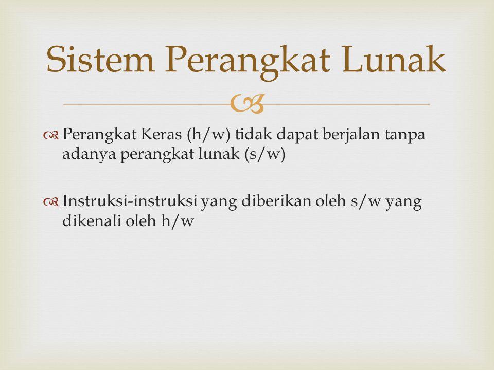  Sistem Perangkat Lunak  Perangkat Keras (h/w) tidak dapat berjalan tanpa adanya perangkat lunak (s/w)  Instruksi-instruksi yang diberikan oleh s/w
