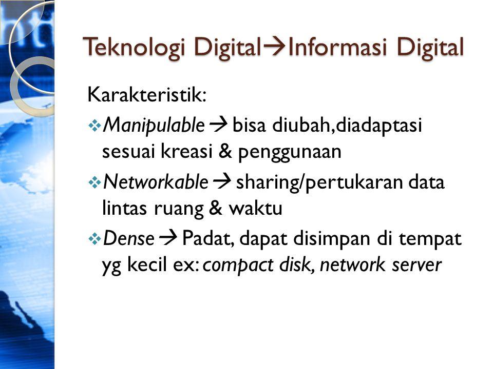 Teknologi Digital  Informasi Digital Karakteristik:  Manipulable  bisa diubah,diadaptasi sesuai kreasi & penggunaan  Networkable  sharing/pertuka