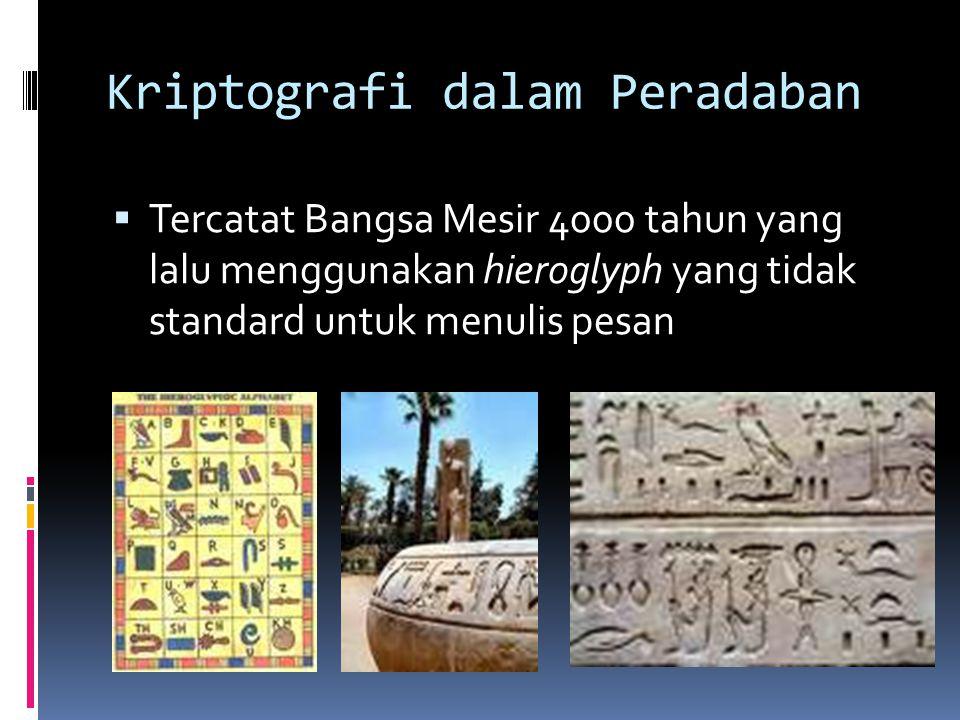 Kriptografi dalam Peradaban  Tercatat Bangsa Mesir 4000 tahun yang lalu menggunakan hieroglyph yang tidak standard untuk menulis pesan