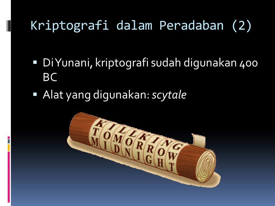 Kriptografi dalam Peradaban (2)  Di Yunani, kriptografi sudah digunakan 400 BC  Alat yang digunakan: scytale