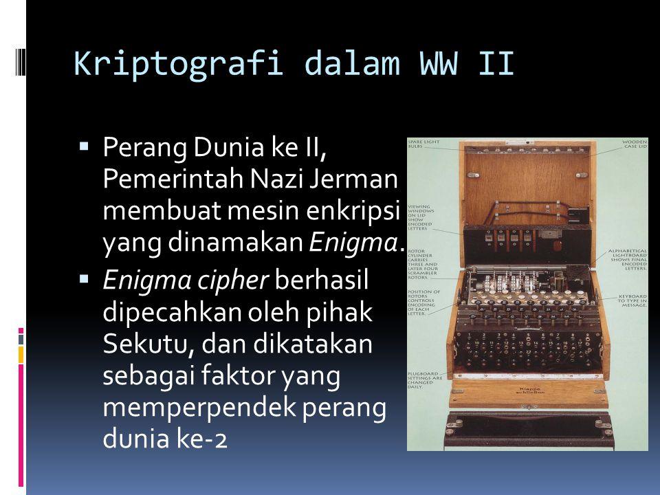 Kriptografi dalam WW II  Perang Dunia ke II, Pemerintah Nazi Jerman membuat mesin enkripsi yang dinamakan Enigma.  Enigma cipher berhasil dipecahkan