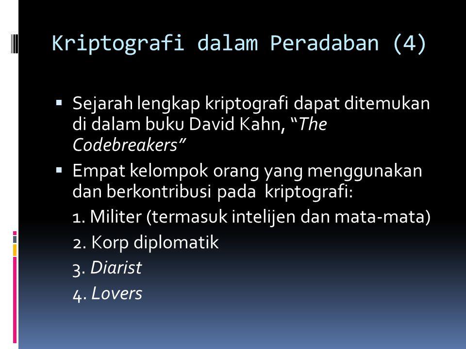 "Kriptografi dalam Peradaban (4)  Sejarah lengkap kriptografi dapat ditemukan di dalam buku David Kahn, ""The Codebreakers""  Empat kelompok orang yang"