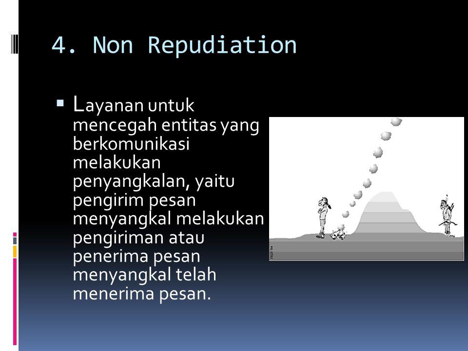 4. Non Repudiation  L ayanan untuk mencegah entitas yang berkomunikasi melakukan penyangkalan, yaitu pengirim pesan menyangkal melakukan pengiriman a