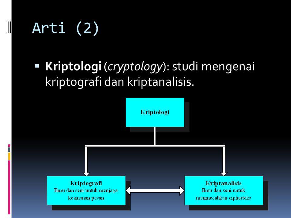 Arti (2)  Kriptologi (cryptology): studi mengenai kriptografi dan kriptanalisis.
