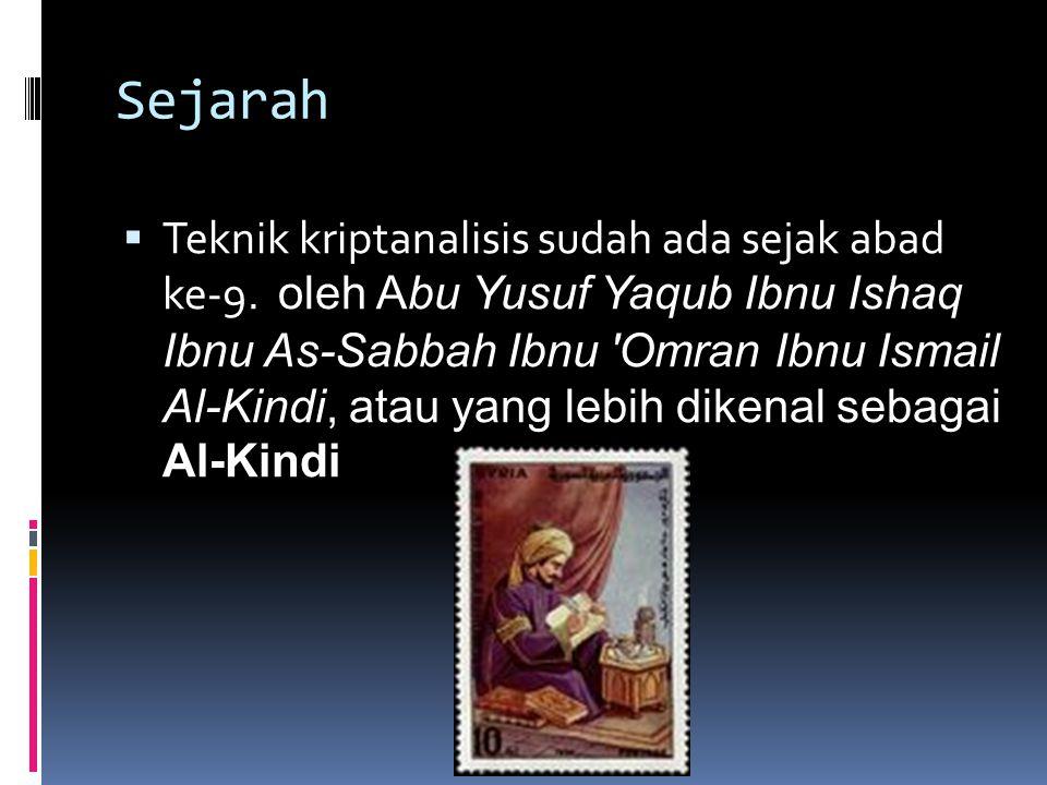 Sejarah  Teknik kriptanalisis sudah ada sejak abad ke-9. oleh Abu Yusuf Yaqub Ibnu Ishaq Ibnu As-Sabbah Ibnu 'Omran Ibnu Ismail Al-Kindi, atau yang l