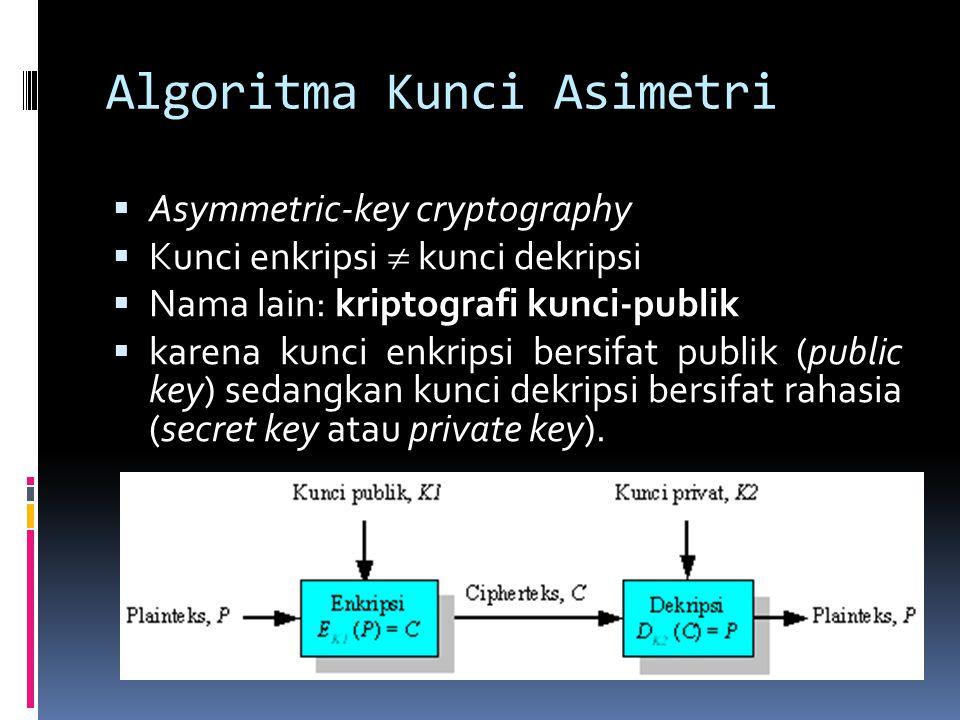 Algoritma Kunci Asimetri  Asymmetric-key cryptography  Kunci enkripsi  kunci dekripsi  Nama lain: kriptografi kunci-publik  karena kunci enkripsi