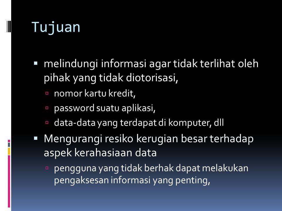 Tujuan  melindungi informasi agar tidak terlihat oleh pihak yang tidak diotorisasi,  nomor kartu kredit,  password suatu aplikasi,  data-data yang