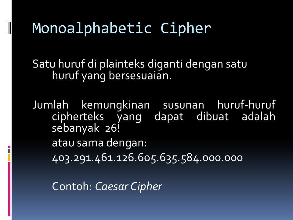 Monoalphabetic Cipher Satu huruf di plainteks diganti dengan satu huruf yang bersesuaian. Jumlah kemungkinan susunan huruf-huruf cipherteks yang dapat