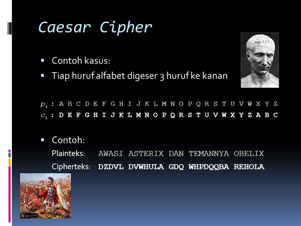 Caesar Cipher  Contoh kasus:  Tiap huruf alfabet digeser 3 huruf ke kanan p i : A B C D E F G H I J K L M N O P Q R S T U V W X Y Z c i : D E F G H