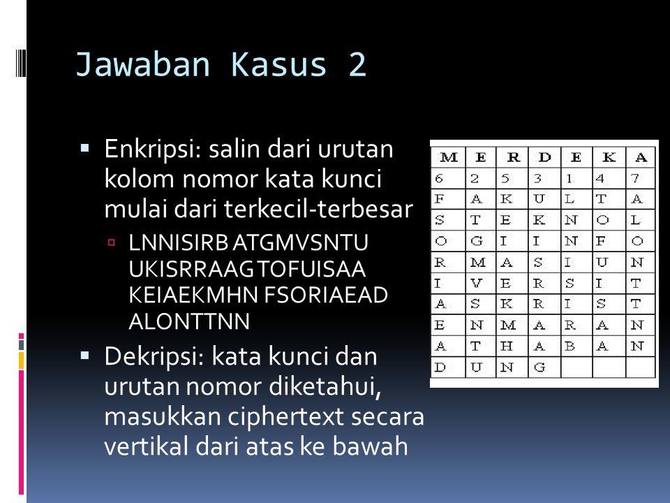 Jawaban Kasus 2  Enkripsi: salin dari urutan kolom nomor kata kunci mulai dari terkecil-terbesar  LNNISIRB ATGMVSNTU UKISRRAAG TOFUISAA KEIAEKMHN FS