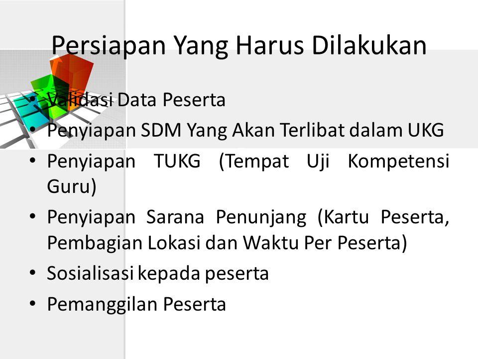 Persiapan Yang Harus Dilakukan • Validasi Data Peserta • Penyiapan SDM Yang Akan Terlibat dalam UKG • Penyiapan TUKG (Tempat Uji Kompetensi Guru) • Pe