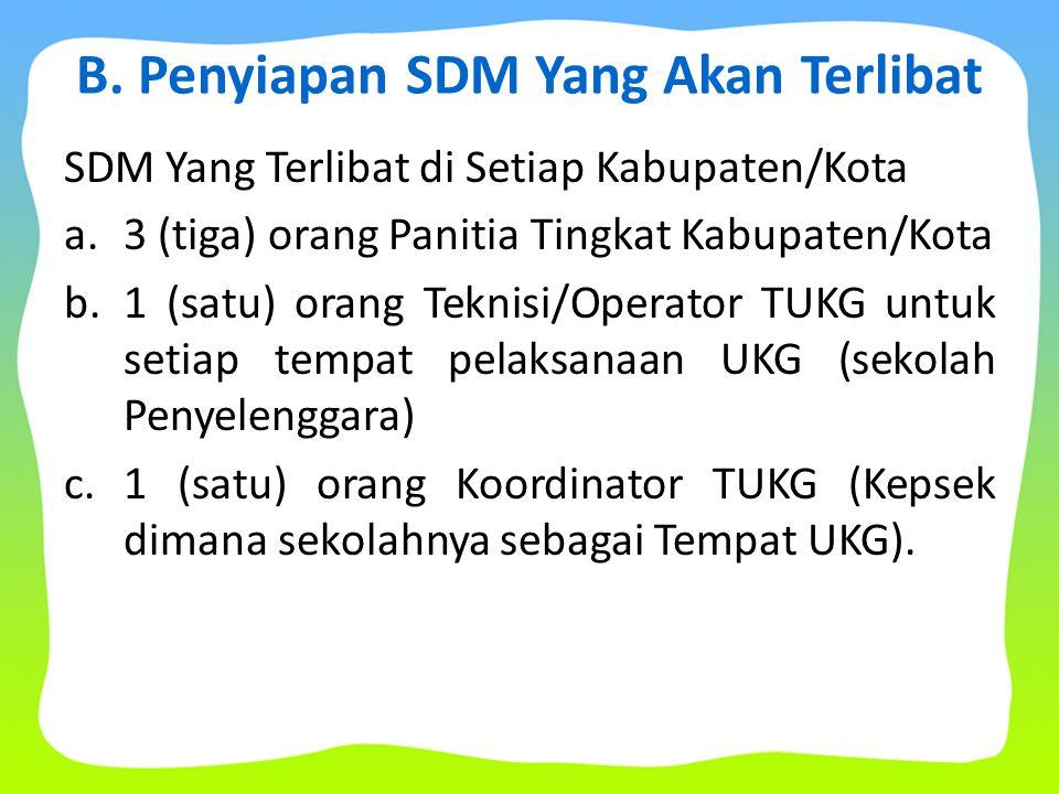 B. Penyiapan SDM Yang Akan Terlibat SDM Yang Terlibat di Setiap Kabupaten/Kota a.3 (tiga) orang Panitia Tingkat Kabupaten/Kota b.1 (satu) orang Teknis