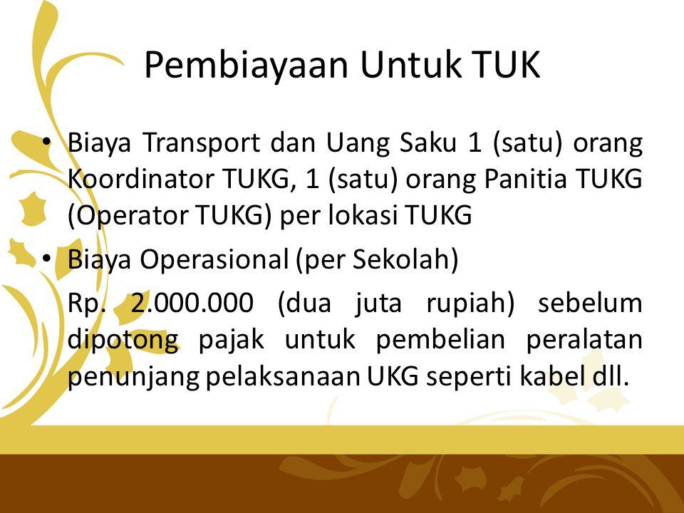 Pembiayaan Untuk TUK • Biaya Transport dan Uang Saku 1 (satu) orang Koordinator TUKG, 1 (satu) orang Panitia TUKG (Operator TUKG) per lokasi TUKG • Bi