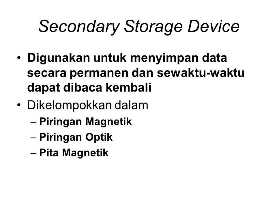 Secondary Storage Device •Digunakan untuk menyimpan data secara permanen dan sewaktu-waktu dapat dibaca kembali •Dikelompokkan dalam –Piringan Magneti