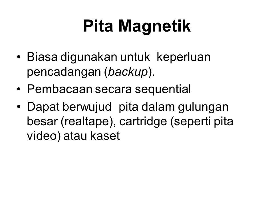 Pita Magnetik •Biasa digunakan untuk keperluan pencadangan (backup). •Pembacaan secara sequential •Dapat berwujud pita dalam gulungan besar (realtape)