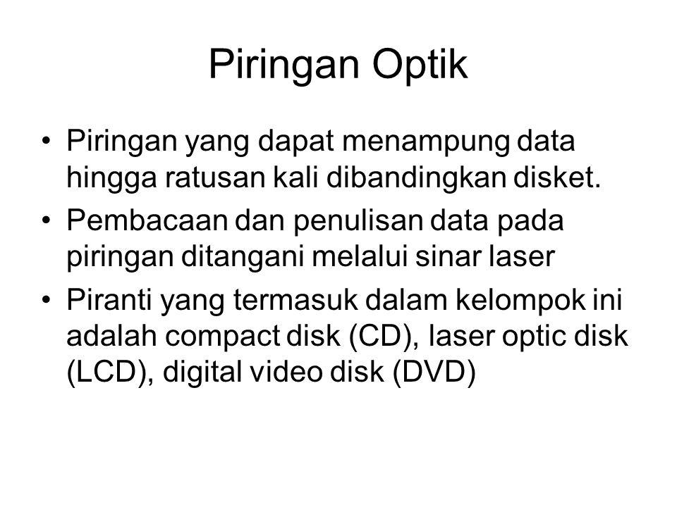 Piringan Optik •Piringan yang dapat menampung data hingga ratusan kali dibandingkan disket. •Pembacaan dan penulisan data pada piringan ditangani mela