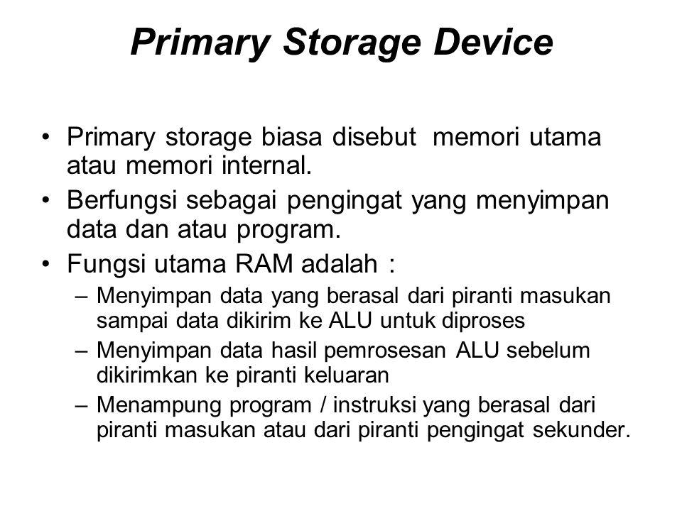 Primary Storage Device •Primary storage biasa disebut memori utama atau memori internal. •Berfungsi sebagai pengingat yang menyimpan data dan atau pro