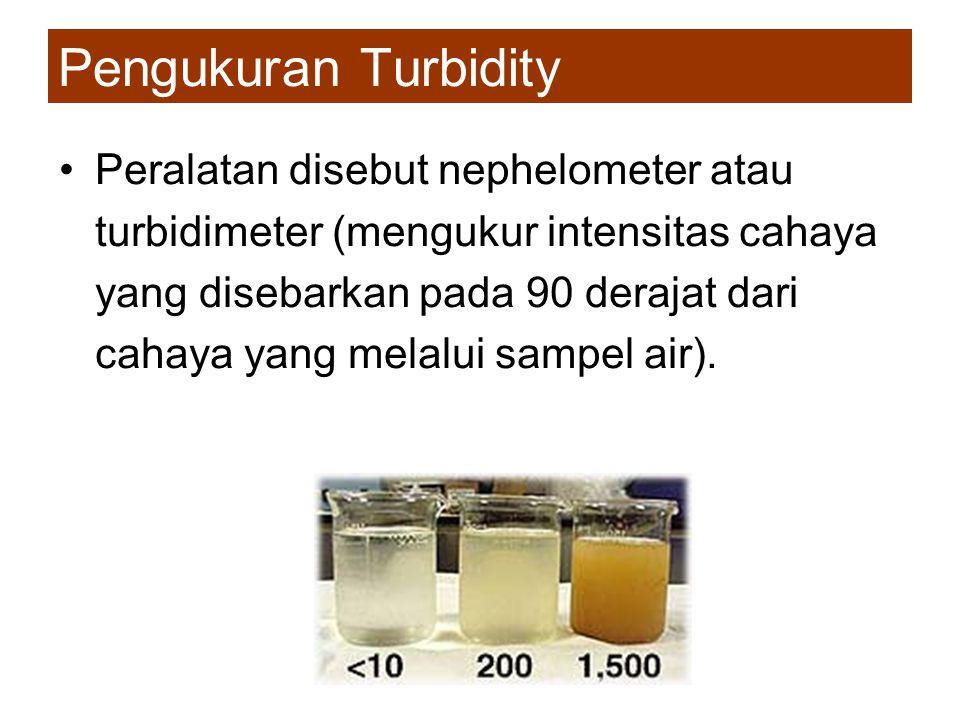 Pengukuran Turbidity •Peralatan disebut nephelometer atau turbidimeter (mengukur intensitas cahaya yang disebarkan pada 90 derajat dari cahaya yang me